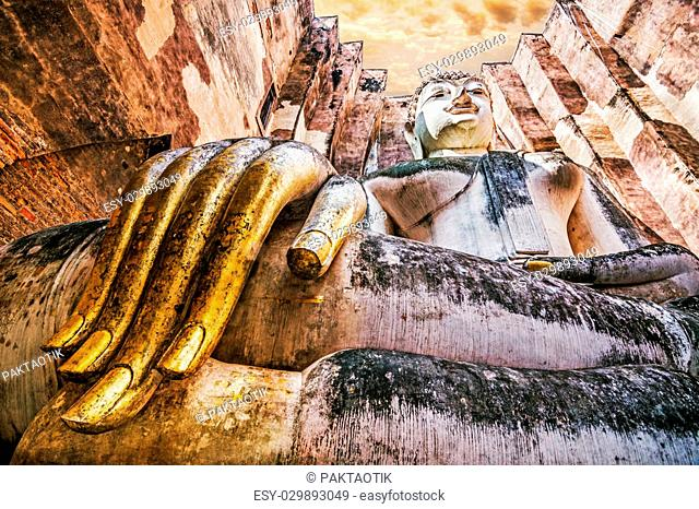 Ancient buddha statue. Sukhothai Historical Park,The old town of Thailand