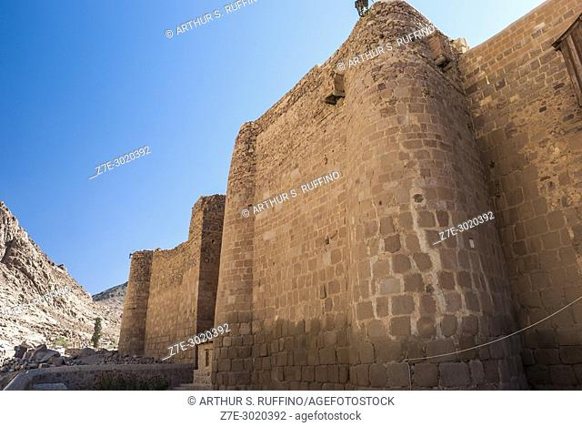 Monastery wall at foot of Mount Sinai. Saint Catherine's Monastery, one of the oldest Christian monasteries in continuous use