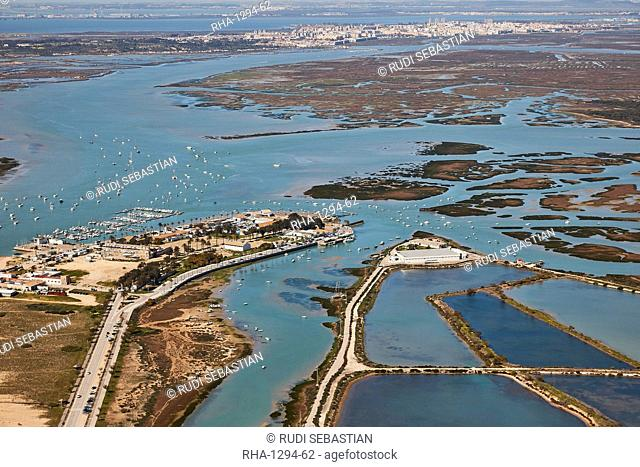 Aerial with Bay of Cadiz, yacht harbour and marina and San Fernando in the background, Cadiz, Andalucia, Spain, Europe