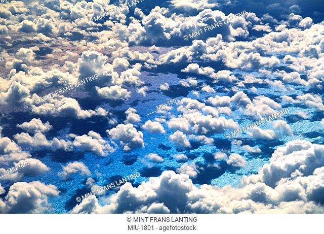 Cloudscape viewed from above, an aerial view over the North Atlantic Ocean