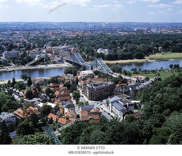 Germany, Saxony, Dresden, view over the city, Elbe, Elbbrücke 'Blaues Miracles',  formerly king Albert bridge, rein belt bridge, Blasewitz-Loschwitzer Elbbrücke