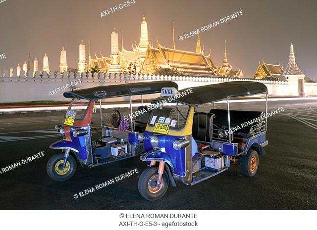 Tuk Tuks Parked IN Front Of The Grand Palace And Wat Phra Kaew Temple, At Night