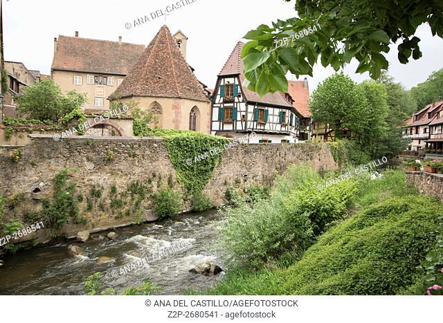 Kaysersberg, Alsace:The famous idyllic Wine Village of Kaysersberg in Alsace near Colmar,France