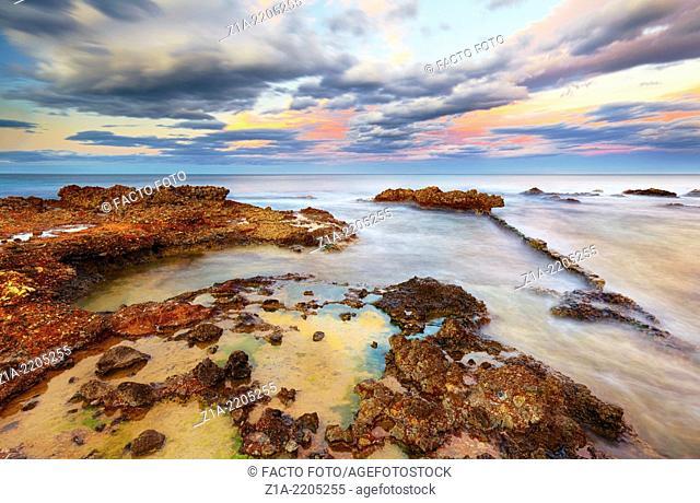 Sunset at Las Rotas beach. Denia. Alicante. Costa Blanca. Spain