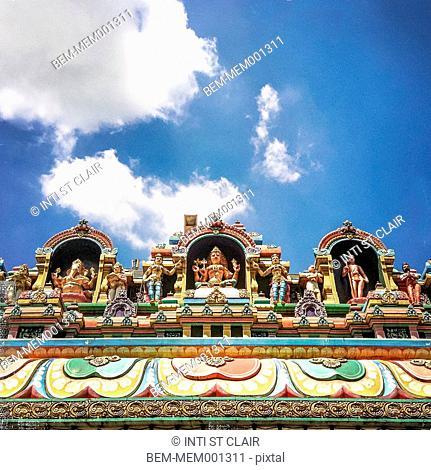 Ornate statues on Sri Mahamariamman temple, Kuala Lumpur, Malaysia