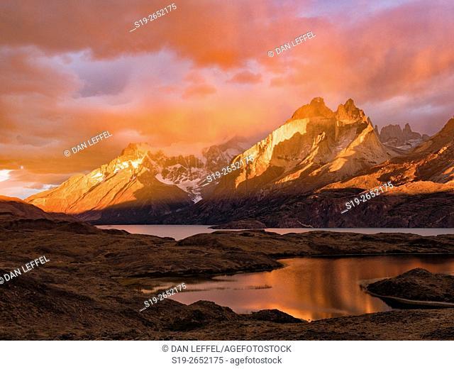 Patagonia Chile Torres del Paine Cuernos Stormy Sunrise