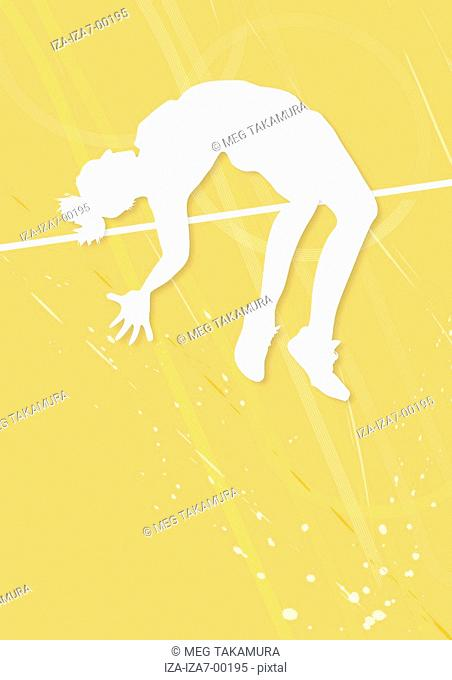 Silhouette of a male high jumper clearing bar