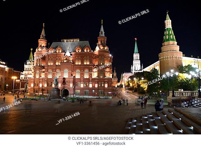Night view of State Historical Museum and Kremlin, Moscow, Russia