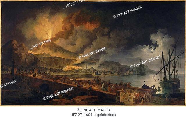 The eruption of Vesuvius seen from Portici , ca 1767. Creator: Volaire, Pierre Jacques (1729-1802)