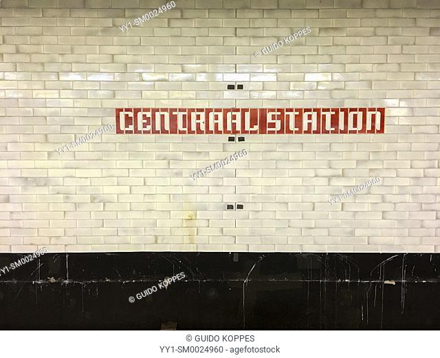 Amsterdam, Netherlands. Central Station Subway Station name sign at the station's wall