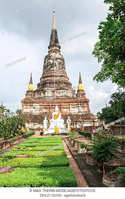 Buddha statues in front of the Stupa at Wat Yai Chai Mongkhon , Ayutthaya, Thailand, Unesco World Heritage Site