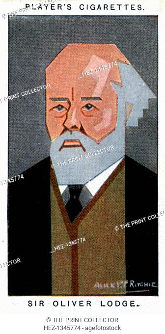 Sir Oliver Lodge, British physicist, (1926). Portrait of Oliver Joseph Lodge (1836-1920). Cigarette card with straight-line caricature