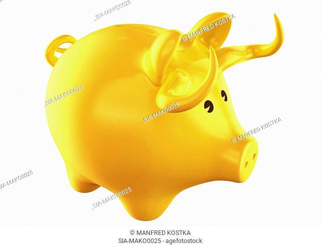 Yellow pig shape money box