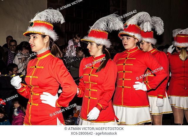 majorettes during the Kings' Cavalcade in San Cristobal de La Laguna municipality