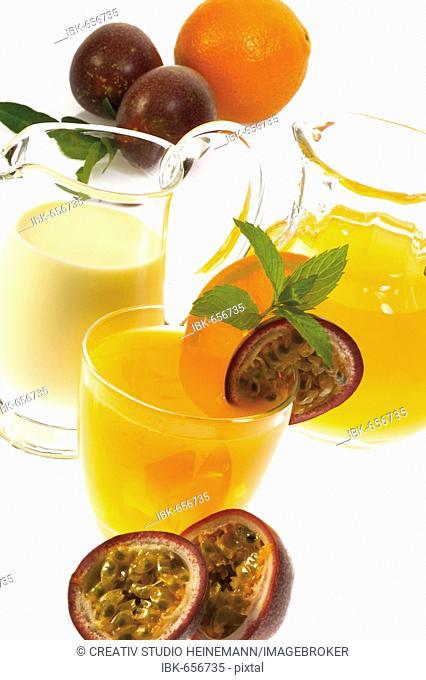Orange-passion fruit juice and milkshake with fresh oranges and passion fruit