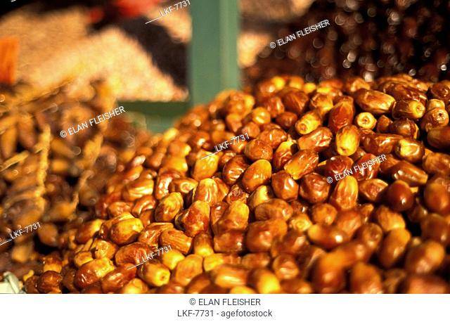 Dried dates on the market, Jemaa El Fna, Marrakesh, Morocco, Africa