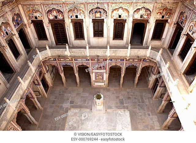 courtyard of Muraraka haveli in nawalgarh city rajasthan state in indi