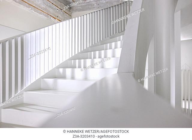 Modern stairs of former Philips factory building Anton at Strijp-S in Eindhoven, the Netherlands