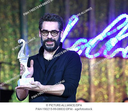 "15 February 2019, Berlin: 69th Berlinale - Notte delle Stelle: Tobias Oertel, actor, receives the """"Premio Bacco. The award is presented by Italian film critics..."