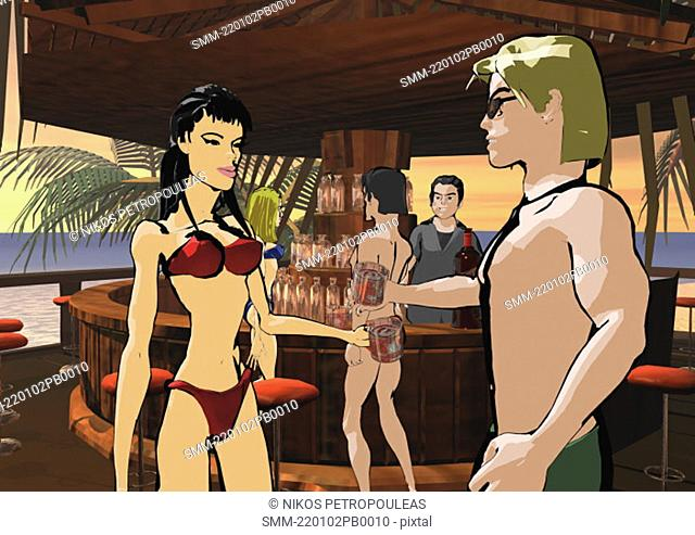 Man and woman toasting each other at a beach bar