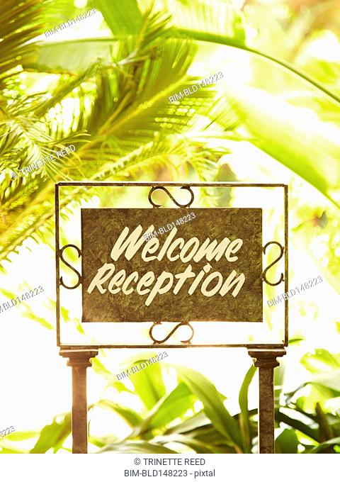 Close up of welcome reception sign
