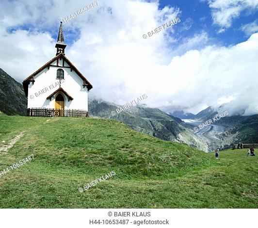 10653487, Aletschbord, Aletsch glacier, glacier, Switzerland, Europe, Alps, mountains, glaciers, canton Valais, chapel, scener