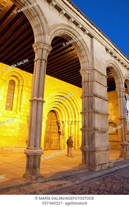 Portico of San Vicente church, night view. Ávila, Castilla Leon, Spain