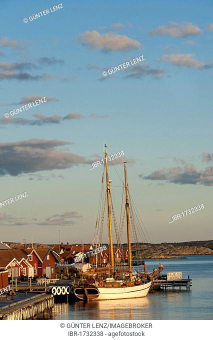 Sailing yacht anchored in the port of Molloesund, Vaestra Goetaland County, Sweden, Europe