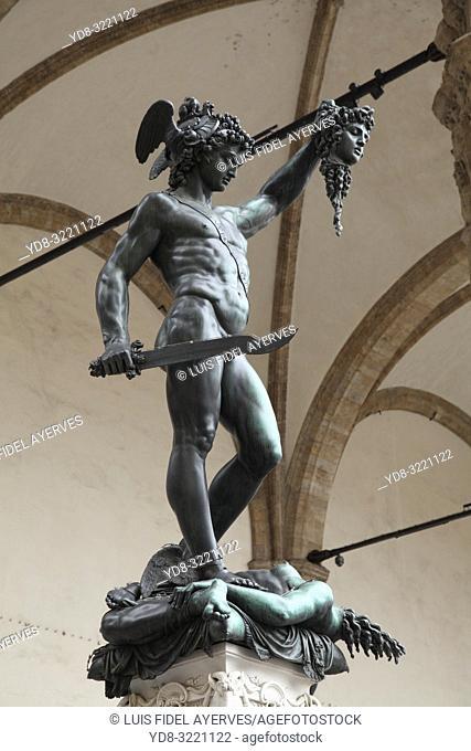 Perseus with the Head of Medusa, Loggia dei Lanzi, Piazza della Signoria, Florence, Tuscany, Italy
