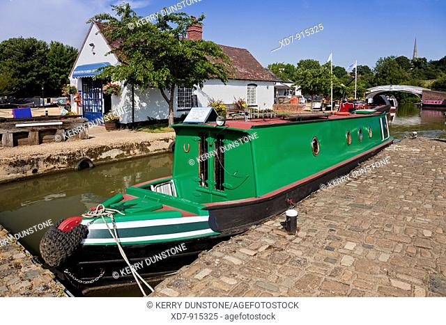 England Northamptonshire Braunston Marina with marina shop and narrowboat 'Charles the First' for sale