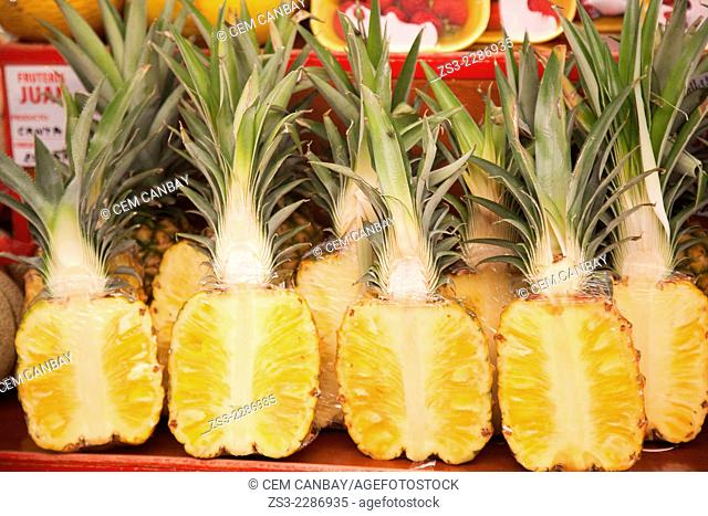 Slices of pineapples at the Mercado de Nuestra Senora de Africa market, Santa Cruz, Tenerife, Canary Islands, Spain, Europe