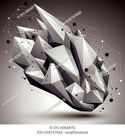 Abstract 3D structure polygonal network object, grayscale deformed figure