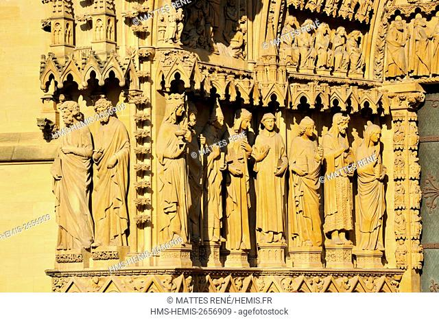France, Moselle, Metz, St Etienne cathedral, Gothic architecture, portal of the Virgin 13th century