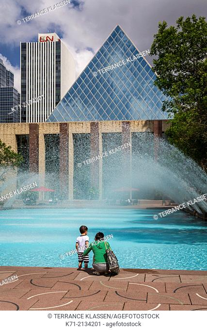 The decorative fountain and pool at the City Hall of Edmonton, Alberta, Canada