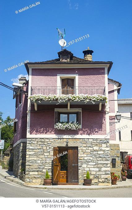 Facade of house. Sarvise, Huesca province, Aragon, Spain