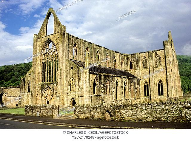 Wales. Remnants of Tintern Abbey, a 12th-century Cistercian abbey, founded 1131