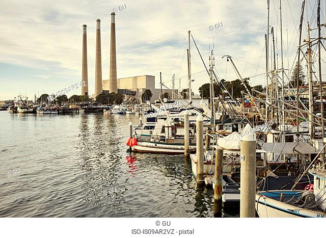 View of harbor and water treatment plant, Morro Bay, California, USA