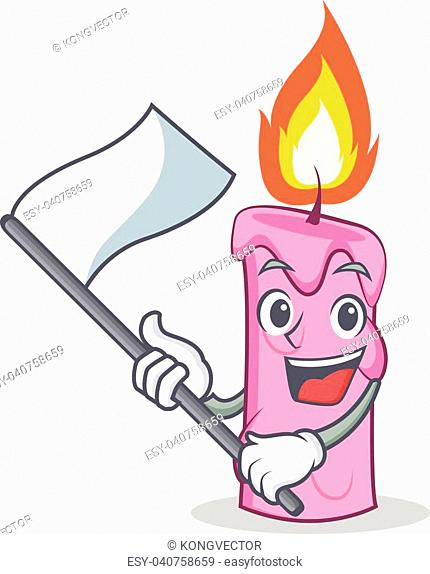 With flag candle character cartoon style vector illustration