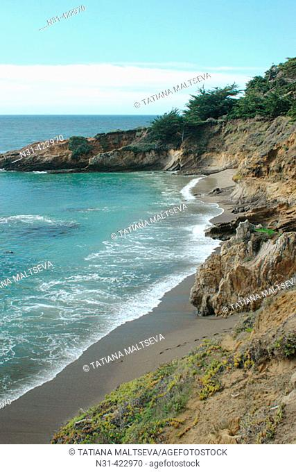 Beach and rock formations, San Simeon Point. San Luis Obispo County, central coast California, USA