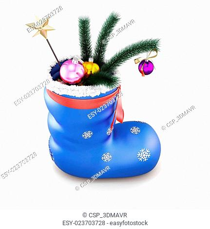 Blue christmas sock with gifts isolated on white background. 3d