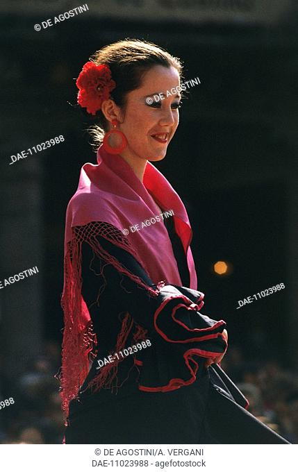 Flamenco dancer in Segovia, Castile and Leon, Spain