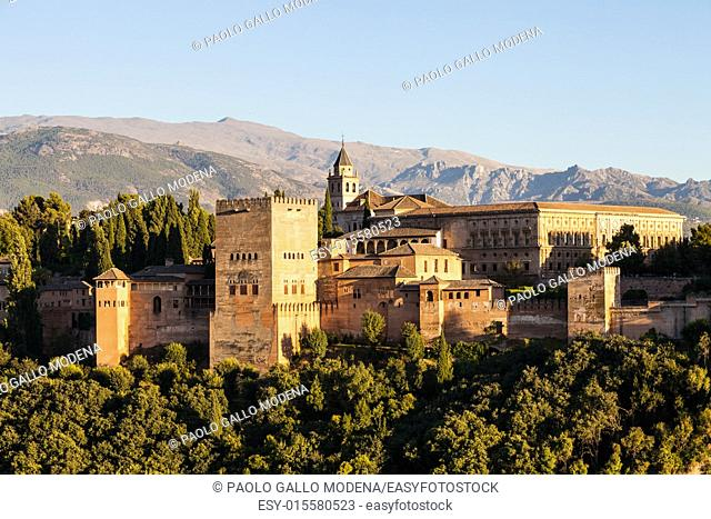 Famous Alhambra Royal Palace (UNESCO heritage) from the view point in front of the Alhambra hill