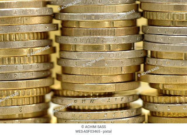 Piled euro coins, close-up
