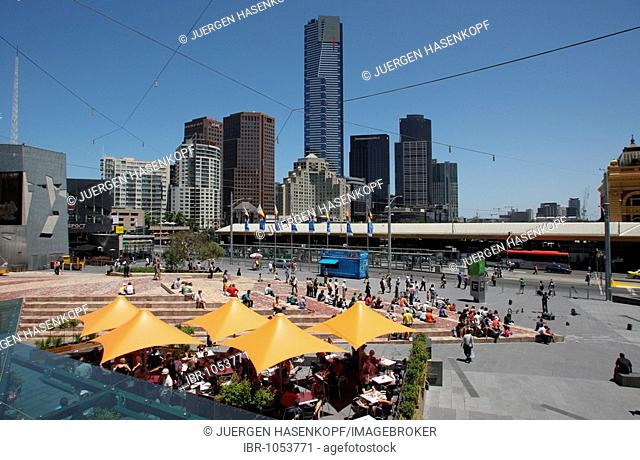 View of Southgate Complex and Eureka Tower across Federation Square, Melbourne, Victoria, Australia