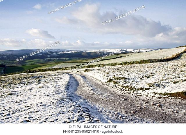 View of snow covered farmland, Exmoor N.P., Somerset, England, January