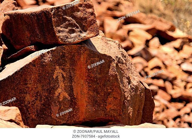 Rock engraving at the world famous Rock Art Sites of Murajuga with about 10.000 Aboriginal rock engravings up to 50.000 years old at Burrup Peninsula, Dampier