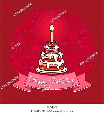 Vector Happy Birthday card. Big Cake with chocolate, icing, cream and candle on pink background