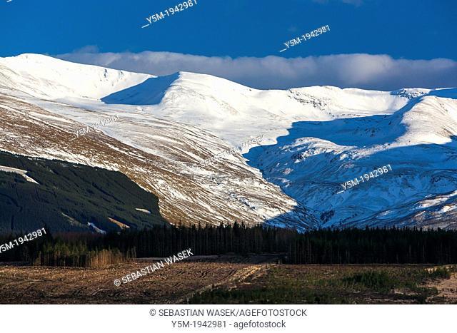 Ben Nevis range, seen from Caol and Mallaig Ward, Highland, Scotland, United Kingdom, Europe
