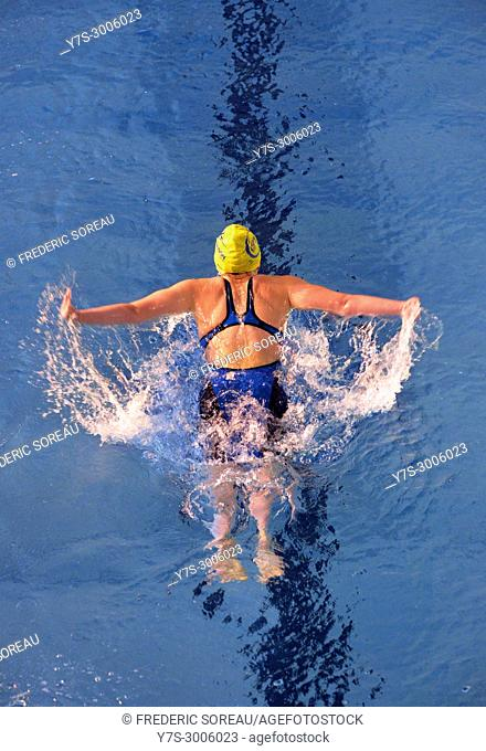 Swimmer swimming during a competition in Sartrouville,Yvelines,France,Europe