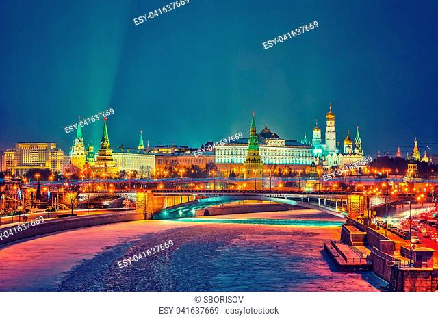 Moscow city after dark at winter, Moscow, Russia